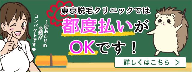 東京脱毛クリニックでは都度払いに対応しております